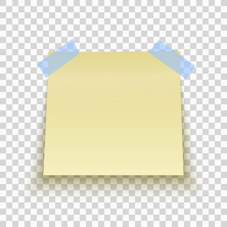 Yellow sticky note isolated on transparent background. Office note for work with Blue tape. Template for your project. Vector illustration.