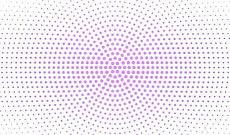 Abstract radial gradient in halftone style. Retro and vintage. Hipster pattern of dots for your projects. Purple dots on a white background. Vector illustration.
