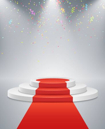 White podium and red road on a light background. The winner is in first place. Bright white light from searchlights. Flying confetti. Light pedestal. Festive event. Vector illustration.