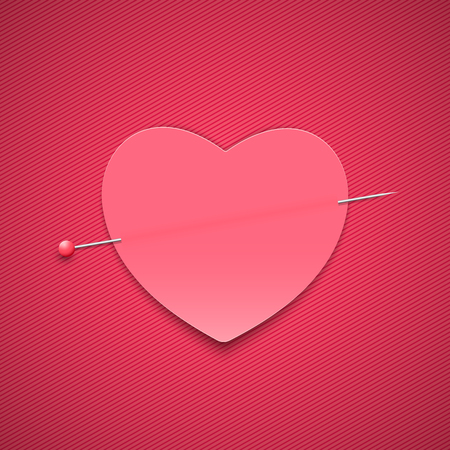 Empty romantic note in the form of a heart with a pin. Happy Valentines Day. Pink background with a pattern of lines. Note for a loved one. Vector illustration.