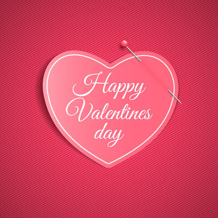 Romantic note from a paper heart with a pin. Festive graphic element. Happy Valentines Day. Pink background with a pattern of lines. Note for a loved one.