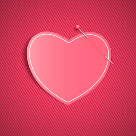 Empty romantic note from a paper heart with a pin. Festive graphic element. Happy Valentines Day. Pink background with a pattern of lines. Note for a loved one. Illustration