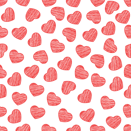 Seamless pattern from hearts on a white background. Valentines Day. Painted scrawl. Background for your design. Vector illustration. Illustration