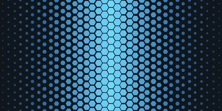 Abstract geometric pattern. Hipster fashion design print hexagonal pattern. Blue honeycombs on a black background. Vector Illustration. Vettoriali