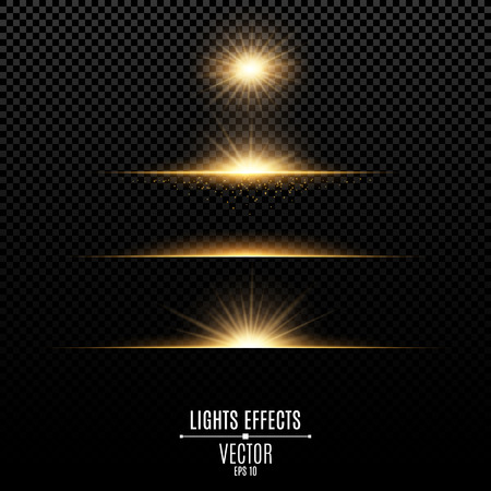 Golden lights effects isolated on a transparent background. Bright flashes and glare of gold color. Bright rays of light. Glowing lines. vector illustration. 向量圖像