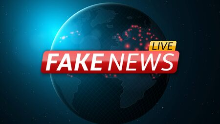 Fake news live and abstract planet earth. Red glossy banner with text. Space and stars. High tech. Vector illustration Stock Illustratie