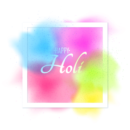 Explosion of colors. Multi-colored spray. Square white banner frame with white text for Happy Holi. Holiday of colors. Colorful fog dust. Vector illustration