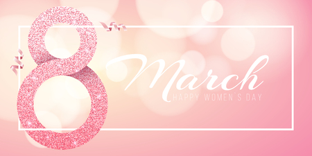 Greeting card for March 8. Happy womens day. Big number 8 from pink glitters. Pink ribbons. Light banner frame with white text. luxurious banner. Poster for 8 march. Vector illustration