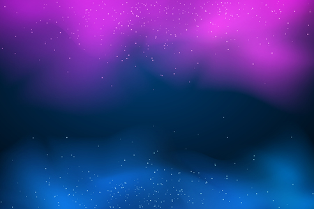 Vector purple blue smoke. Abstract dark background. Mysterious multicolored fog. Mixed paints. Magical glowing flying dust.