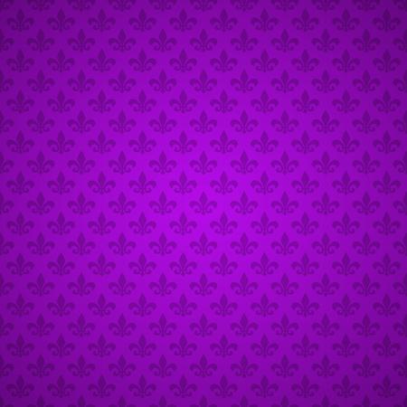 Fleur de Lis pattern. Background, texture. Purple Heraldic lily. Mardi Gras carnival. Seamless pattern. Vector illustration