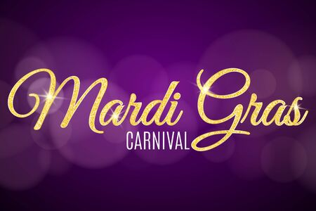 Mardi Gras carnival flyer. Gold glitter text with golden sparkles abstract bokeh lights. Gold particles shine vector illustration.