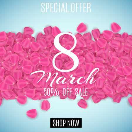 Sale banner for 8th of March special offer. Happy Womens day sale. Petals of tulip on a light blue background. Big discounts vector illustration. Illustration
