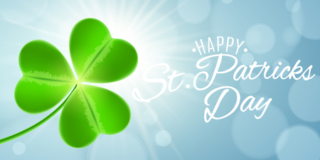 Web banner for St Patricks Day. Clover and text. Sunrise. Blue background with lights bokeh. Calligraphic white text. Greeting card. Vector illustration. EPS 10