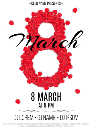 Template for party on March 8. Invitation card to the night club. Figure 8 of the red rose petals. Women's Day. Names of the club and DJ. Vector illustration. EPS 10 Illustration