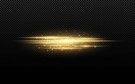 Efecto de luz con estilo abstracto sobre un fondo transparente. Líneas de neón brillante dorado en movimiento. Polvo dorado brillante y resplandor. Linterna. Vía luminosa. Ilustración vectorial EPS 10