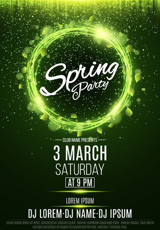 Poster for a spring party. Abstract banner of swirling neon lines. Green fresh leaves. Invitation card in night club. The names of the club and DJ. Luminous dust. Vector illustration. EPS 10
