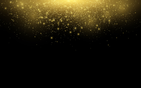Abstract falling golden lights. Magical gold dust and glares. Festive Christmas background. Golden rain. Vector illustration. Illustration