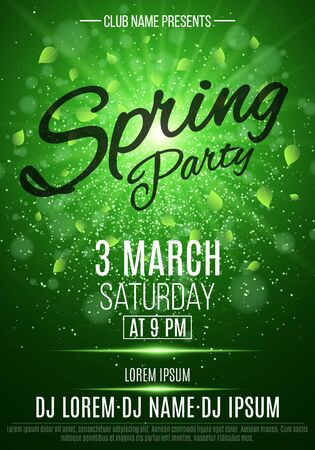 Flyer for a spring party. Bright flash of light. Flying leaves. Invitation card in night club. The names of the club and DJ. Luminous dust, glitters. Vector illustration. EPS 10