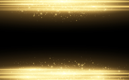 Abstract stylish light effect on a black background. Gold glowing neon lines in motion. Golden luminous dust and glares. Flash Light. Vector illustration. EPS 10 Ilustração
