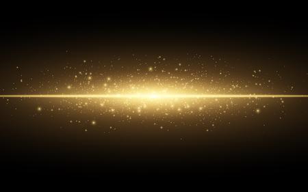 Abstrakter stilvoller Lichteffekt auf einen schwarzen Hintergrund, Goldglühende Neonlinie. Goldener leuchtender Staub und grelle Blicke, Blitzlicht, leuchtende Hintervektorillustration.