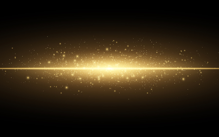 Abstract stylish light effect on a black background, gold glowing neon line. Golden luminous dust and glares, flash Light, luminous trail vector illustration. Vettoriali