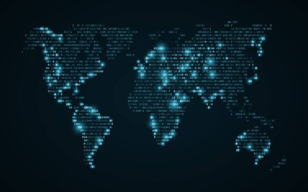 Abstract world map of binary code  Glowing map of the earth