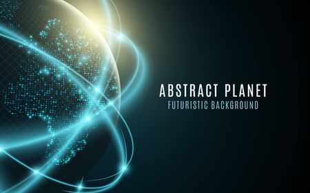 Futuristic planet earth, glowing world map of dots. Abstract background space composition. Global network connection graphic element vector illustration.