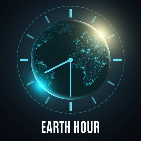 Earth Hour poster design Vector illustration