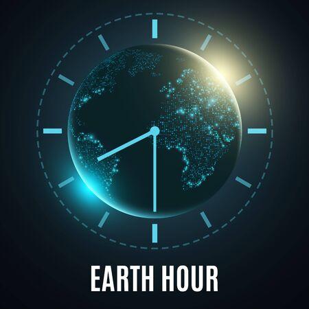Earth Hour poster design Vector illustration