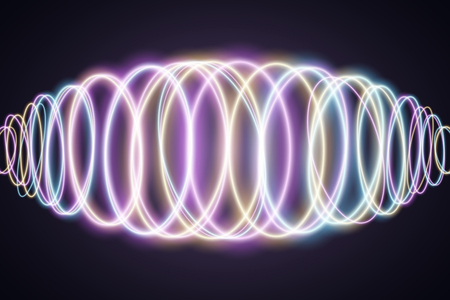 Abstract background of luminous multicolored neon waves. Music Equalizer. Wallpapers for your design. Chaotic light circles. Vector illustration.