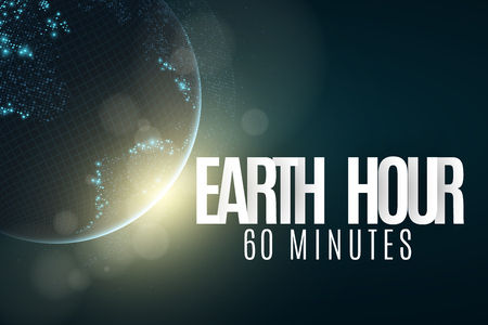 Earth Hour. Futuristic planet Earth. 60 minutes without electricity. 3D paper letters. Sunrise. Global holiday. Clock go. Abstract world map. Sunrise. Vector illustration. EPS 10 Vectores