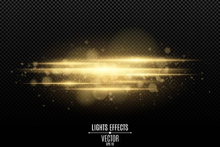 Abstract magic stylish light effect on a transparent background. Gold glowing neon lines in motion. Luminous dust and glares bokeh. Flash Light. luminous trail. Vector illustration. EPS 10
