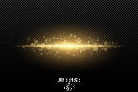 Abstract magic stylish light effect on a transparent background. Gold flash. Luminous dust and glares bokeh. Flash Light. luminous trail. Vector illustration. EPS 10