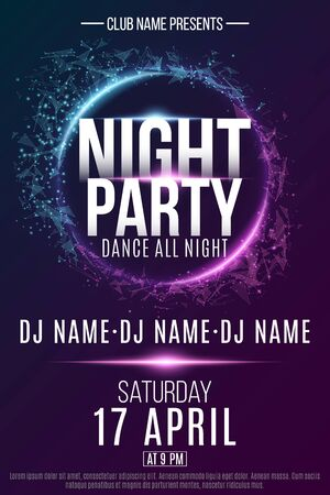 Poster for a dance party with Night party text.