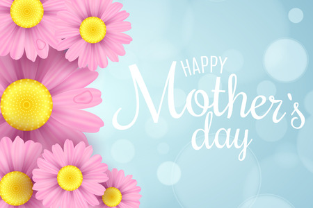 Happy Mother's Day. Greeting card. Pink daisy flowers on a light blue background with glares bokeh. White text. Romantic love background. Vector illustration. EPS 10 Vectores