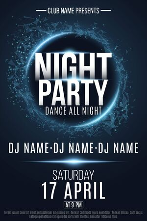 Night Party flyer. Festive geometric neon flyer. Banner from geometrical plexus particles. Name of club and DJ. Vector illustration. EPS 10
