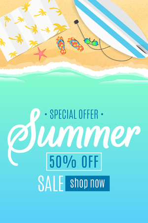 Flyer for the summer sale. Surfboard, beach goggles and sponges. Sunny sandy beach. Cartoon style. Special offer. Summer discounts. Vector illustration. Illustration