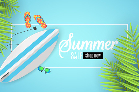 Summer sale banner. White frame with text. Surfboard, beach goggles and sponges. Cartoon flat style. Special offer. Summer discounts. Vector illustration. EPS 10