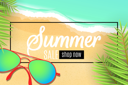 Web banner for the summer sale. Sunglasses on the beach. Leaves of a palm tree. Special offer. Seasonal discounts. Sea waves. Top view. Cartoon flat style. Vector illustration. EPS 10