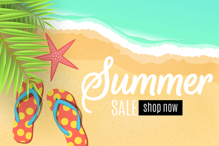 Advertising web banner for the summer sale. Flip flops on the beach. Leaves of a palm tree. Special offer. Seasonal discounts. Starfish. Top view. Cartoon flat style. Vector illustration. EPS 10