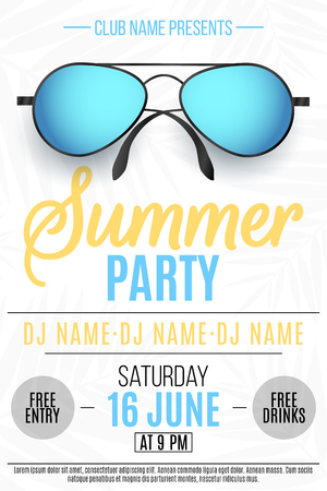 Poster for a Summer Party. Colorful beach sunglasses on a white background with palm trees. Vector illustration.