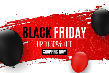 Web banner for sale Black Friday. Red grunge brush with glitters. Realistic balloons. White background. Big discounts. Special offer. Background for your project. Vector illustration. EPS 10 Illustration