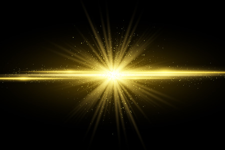 Abstract stylish golden light effect on dark background. Glowing magical star. Bright flares. Gold rays. Magic explosion. Christmas light. Vector illustration. EPS 10 Çizim