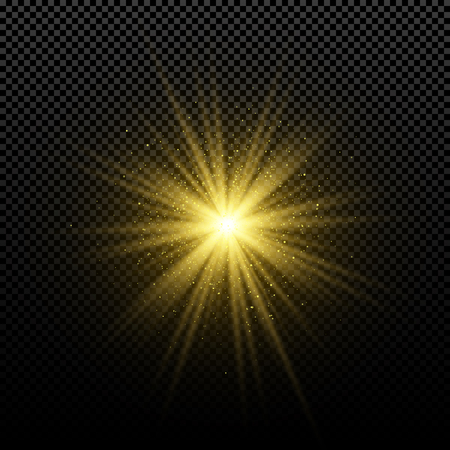Golden glowing golden star on a transparent background. Glowing magical star. Bright flares. Gold rays. Magic explosion. Christmas star. Vector illustration. EPS 10