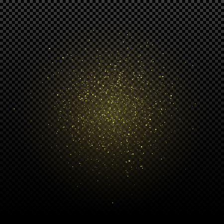 Golden glowing dust on a transparent background. Light effect for your design. Yellow circles. Flying light particles. Golden luxury spray. Vector illustration. EPS 10 Иллюстрация