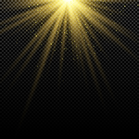 Abstract stylish golden light effect on dark background. Bright flares. Bright rays. Magic explosion. Sunlight with falling gold dust. Christmas light. Vector illustration. EPS 10