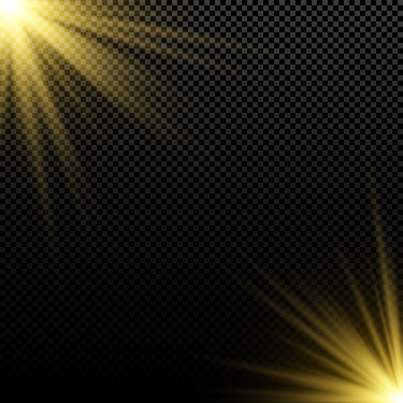 Golden light effect on dark background. Bright flares. Gold rays. Magic explosion. Sunlight. Christmas light. Vector illustration. EPS 10