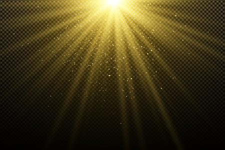 Golden light effect on a dark transparent background. Glares bokeh. Golden magical rays. Bright explosion. Sunlight. Christmas light. Vector illustration. EPS 10