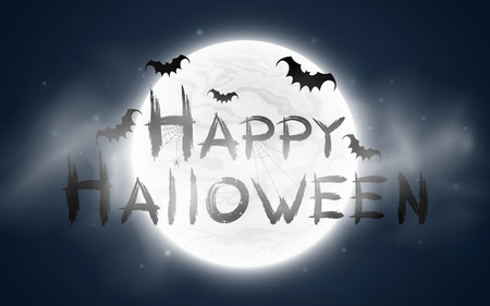 Happy Halloween. The inscription in the style of grunge. Full moon with fog. Flying bats and a spider on a web. Terrible night. Vector illustration.