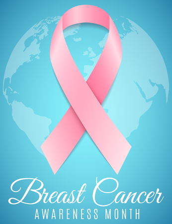 Breast Cancer. Awareness month. Pink ribbon. World map of planet Earth. Banner for your design. Fighting cancer. Vector illustration.